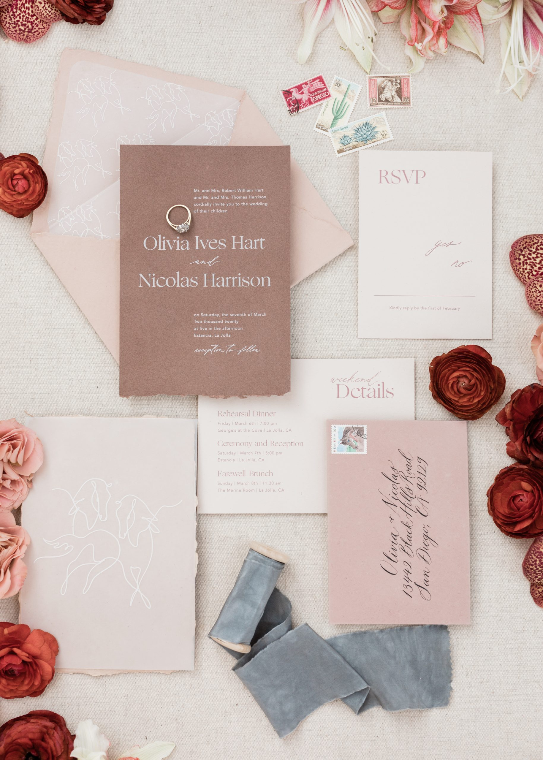 fine art film wedding flat lay